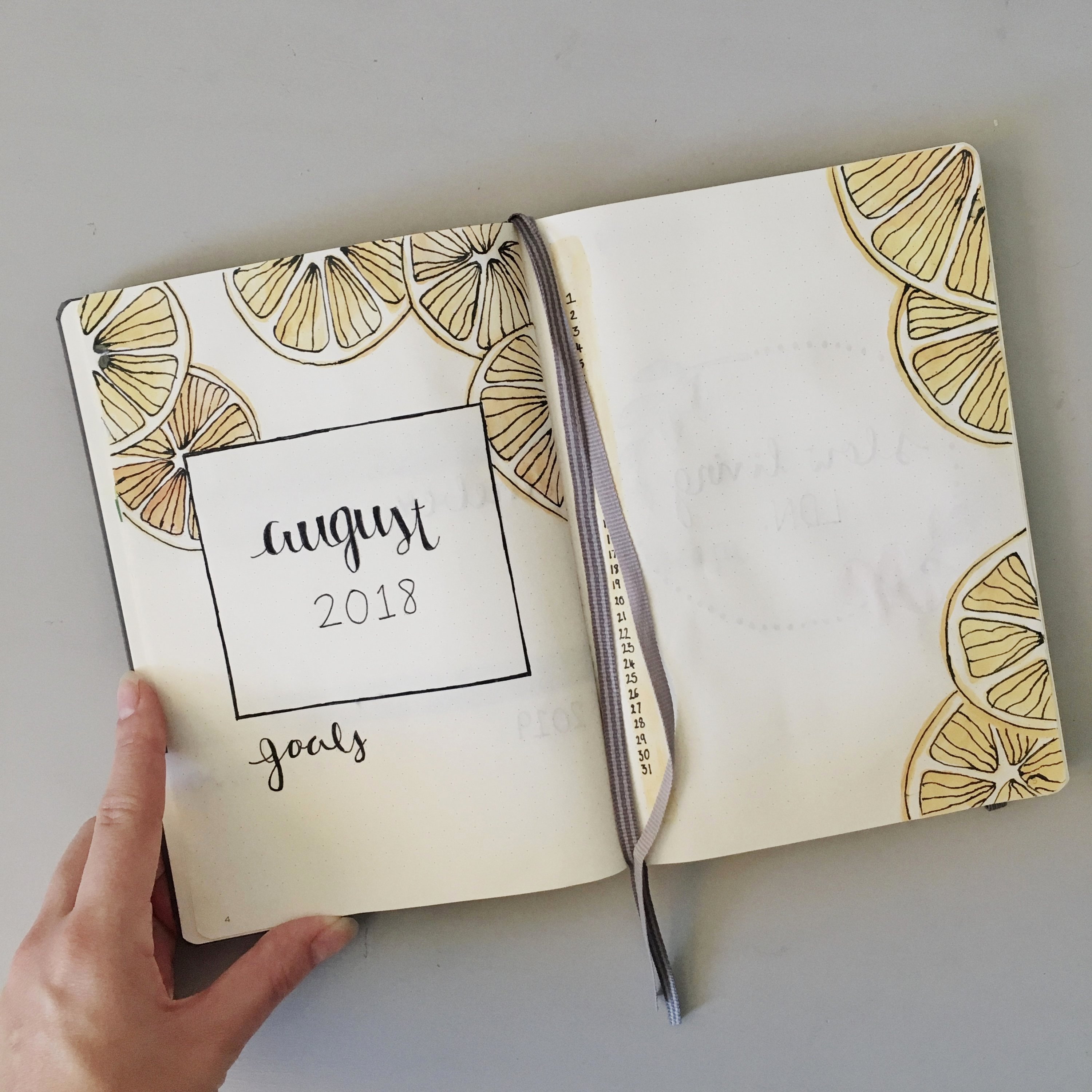 How to start a bullet journal: oranges monthly spread