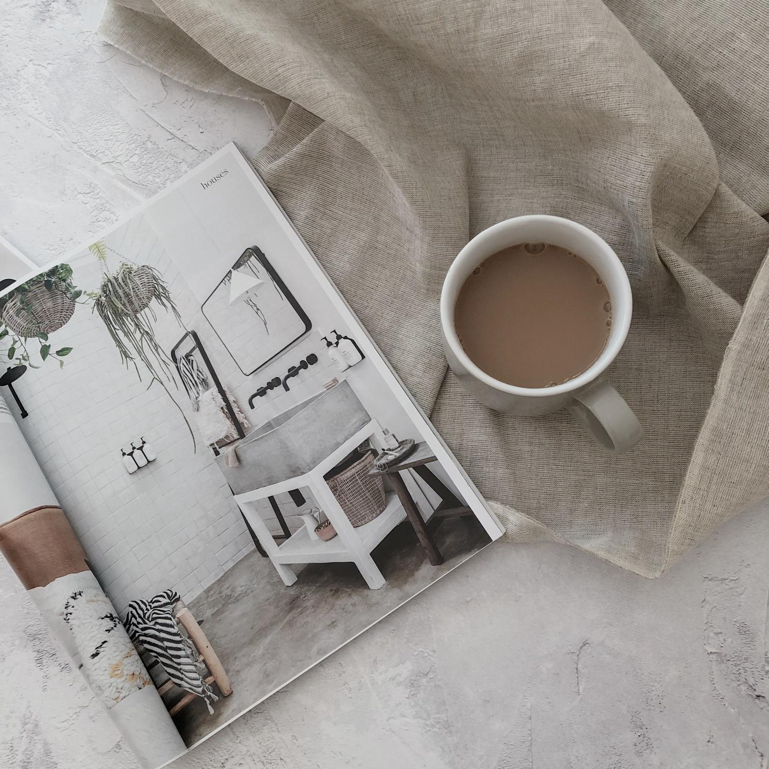 Magazine and tea flatlay