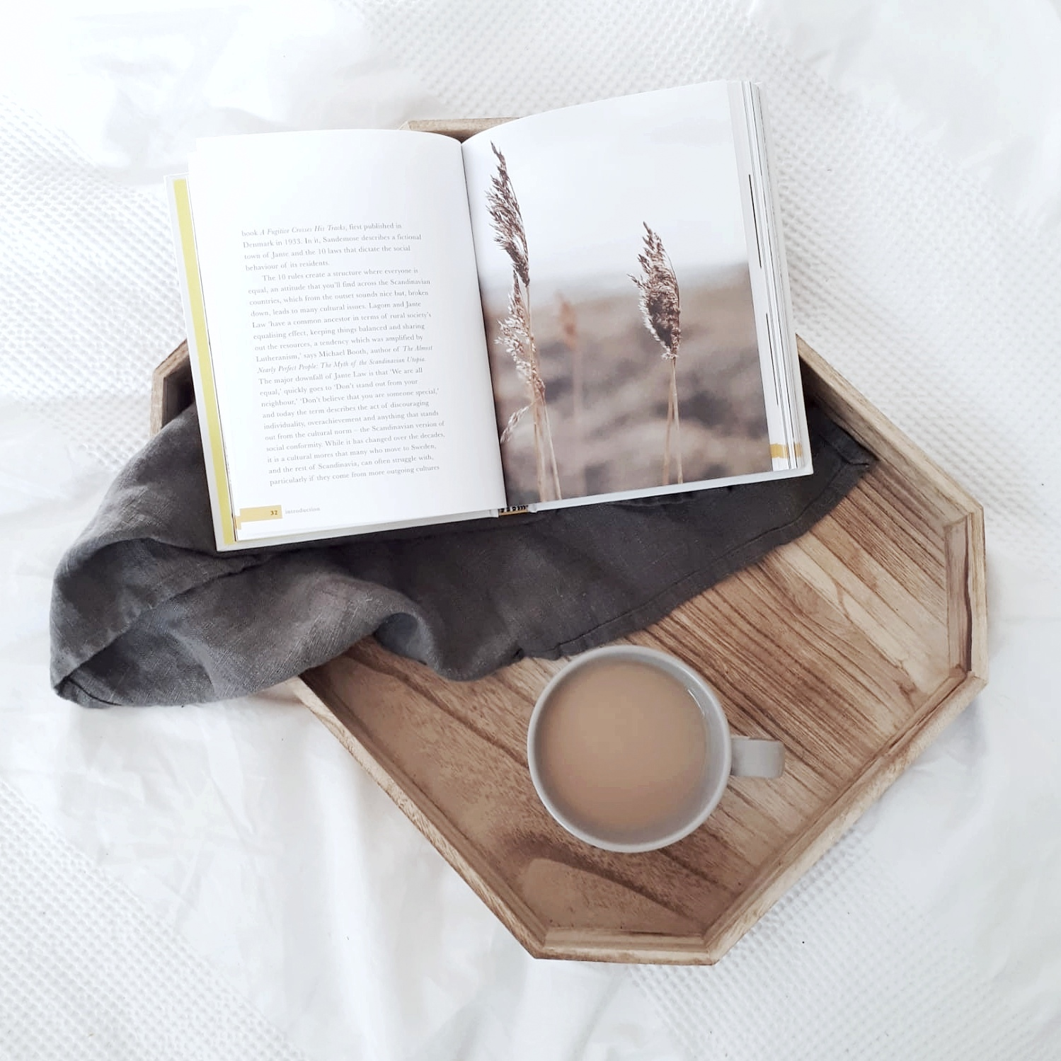 Pros and Cons of Lagom: Tray with tea and Lagom book