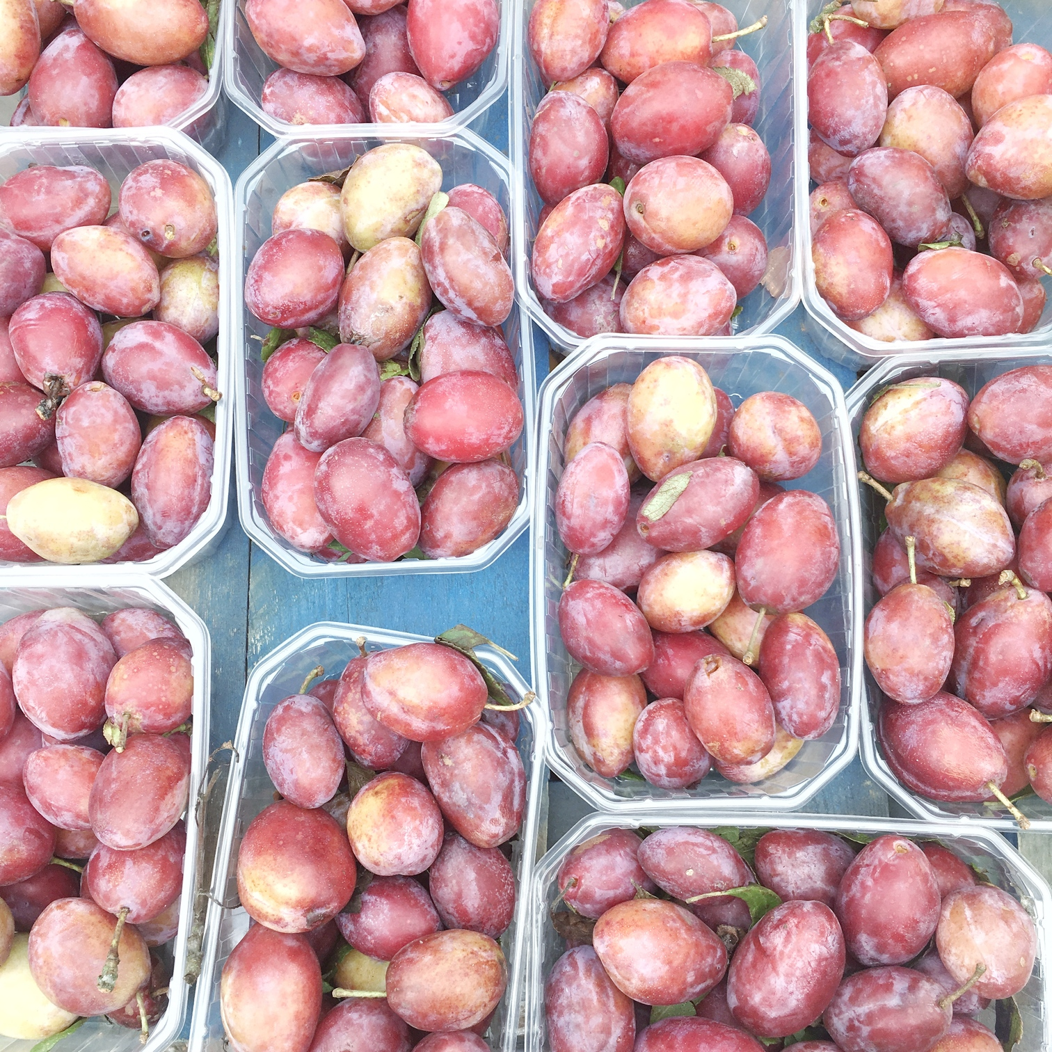 Punnets of plums at Victoria Park Market, London