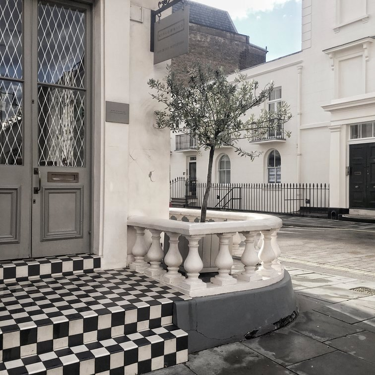 London streets with checkerboard tiles