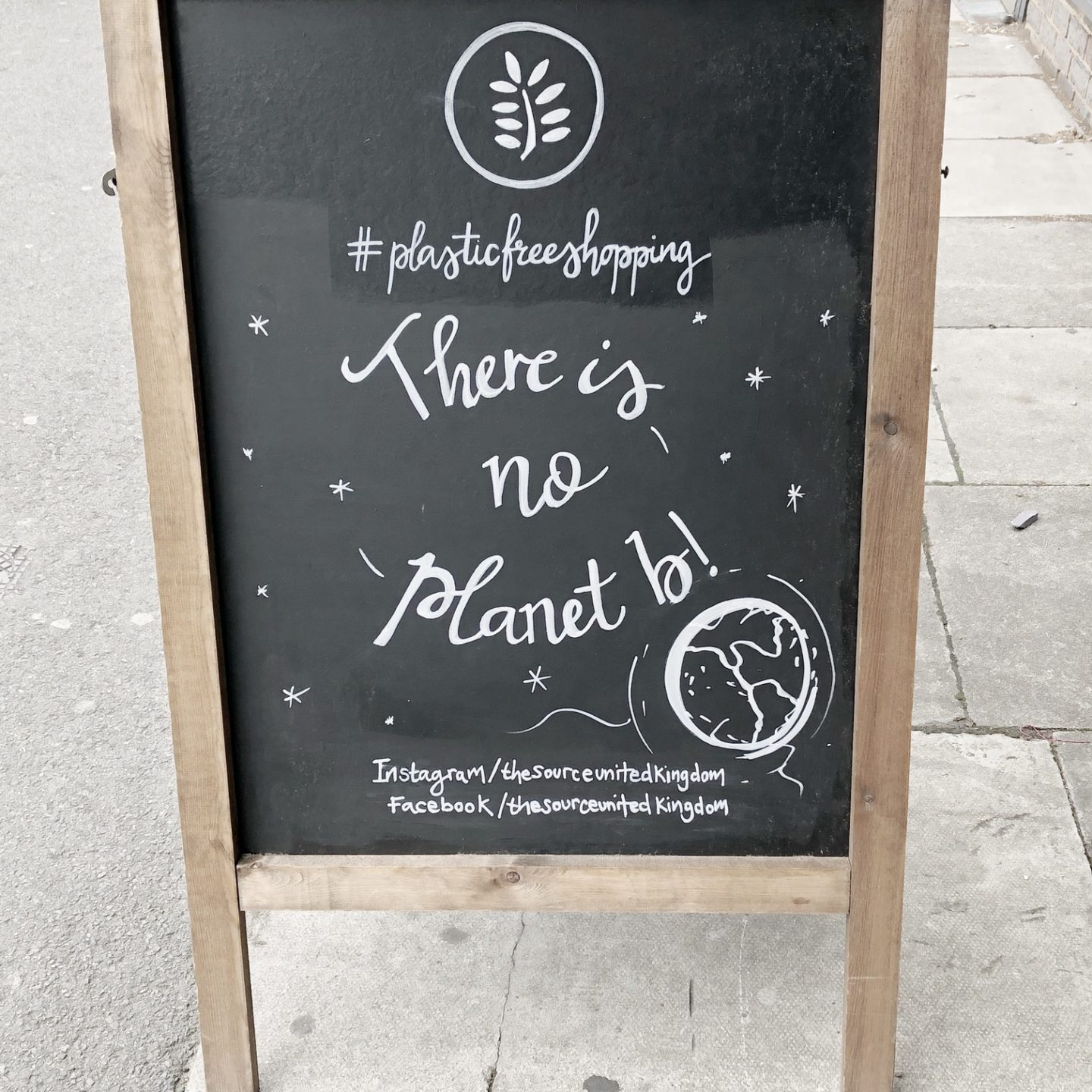 There is no planet B quote on blackboard at The Source Bulk Foods