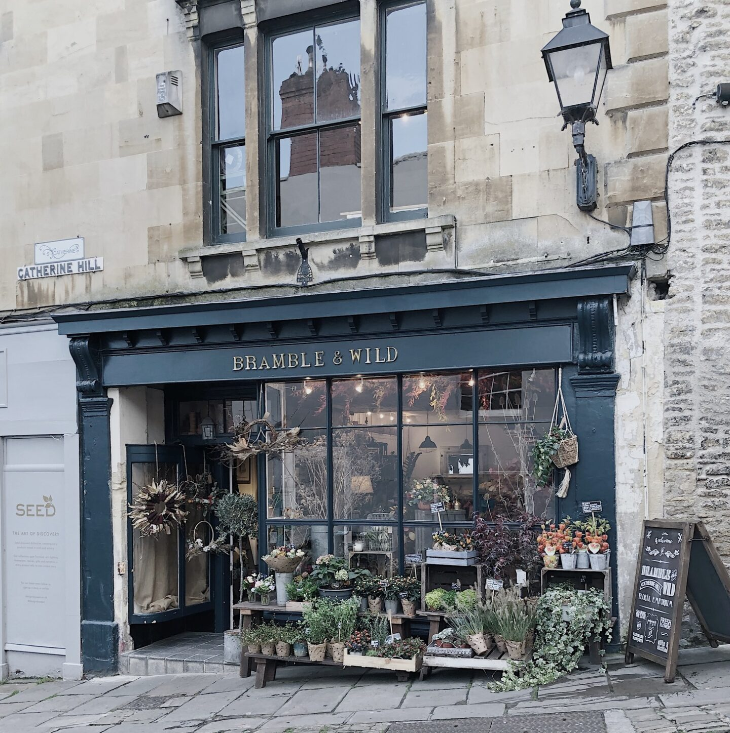 Facade and plants of Bramble & Wild shop in Frome