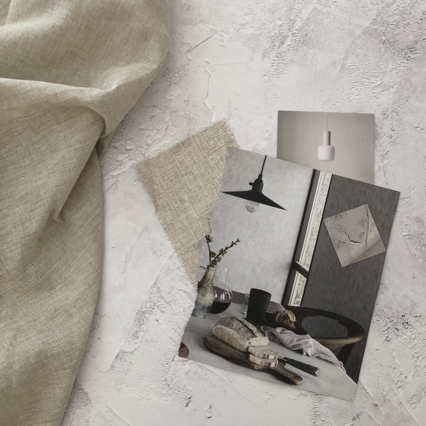Collage of interiors images flatlay