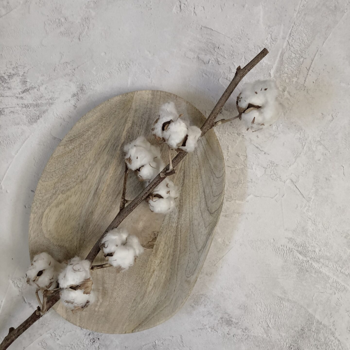 Cotton flowers on a wooden tray