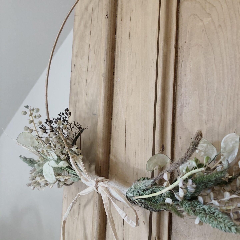 Foliage of a dried flower wreath