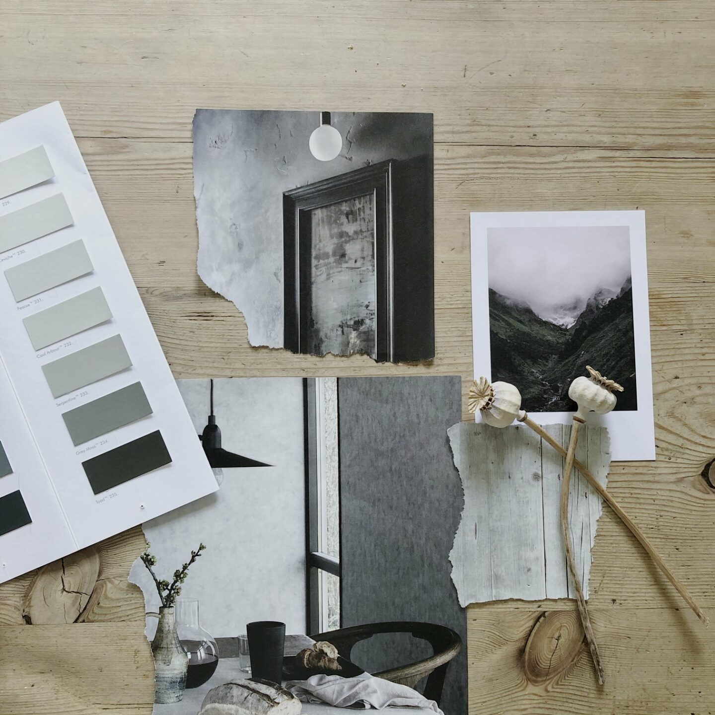 Flatlay moodboard of interiors images