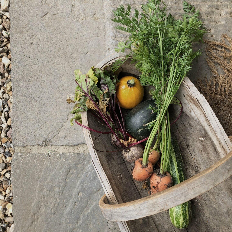 Wooden trug with seasonal vegetables