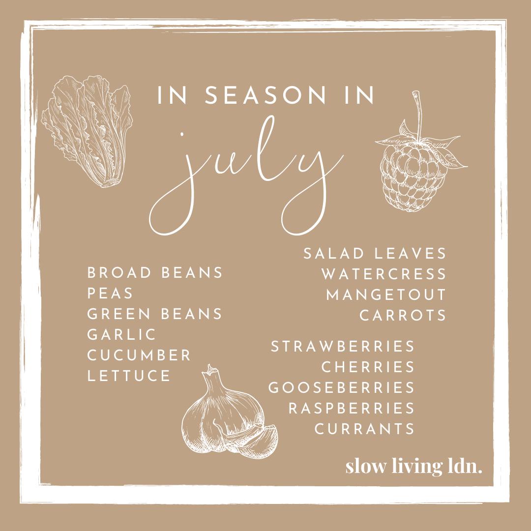 Seasonal food list in July (UK)